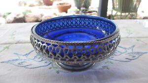 Vintage Cobalt Blue Glass Sugar Bowl or Bon Bon Dish in chrome basket good size