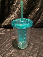 Fruit Infuser Tumbler Cup with Straw Teal Clear 20 oz