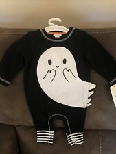New 3-6 Months Halloween Cat & Jack Ghost romper outfit
