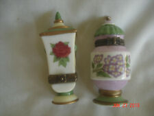 Lot 2 Vtg. Midwest Cannon Falls Trinket Boxes Rose & Hydrangea w/ Labels