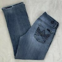 7 For All Mankind A Pocket Boot Cut Jeans Destroyed Medium Wash Worn Size 29x28
