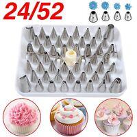24 52 Icing Piping Cake Cupcake Decorating Bag & Nozzle Set Sugarcraft Cup Z
