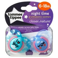Tommee Tippee Closer To Nature Night Time Orthodontic Soothers 6-18 Months 2 ...