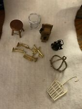 Vintage Dollhouse Miniature Accessories Stool Telephones Musical Instruments +