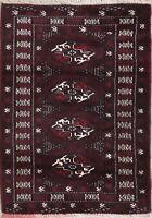 """Geometric Afghan Wool 3x4 Rug MERLOT VELVET Oriental Rug 3' 6"""" x 2' 6"""""""