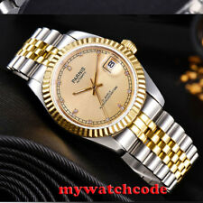 36mm Parnis gold dial Sapphire glass date window Miyota automatic mens watch 597