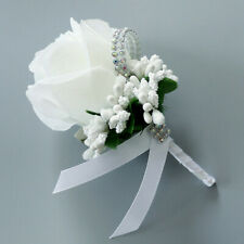 Bride Groom Boutonniere Rose Corsage Artificial Silk Wrist Flower Brooch White