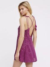 $88 Free People Sz: Medium M Just Watch Me Dress Sequins Strappy Tassels Purple