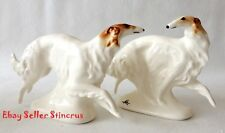 Borzoi Russian graceful & fast run Color White Author's Porcelain figurines NEW
