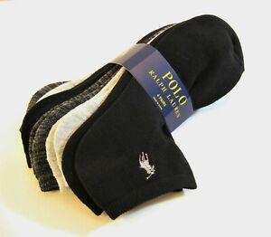 6 Pr Ralph Lauren Ladies Socks Sport Golf Polo Pony Assorted Black Charcoal Grey