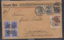 Marienwerder 20pfg blue with inverted surcharge block of 4 on cover, Michel 16K