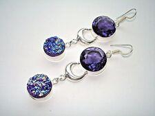 "AB Titanium Druzy Purple Amethyst .925 Silver Hook Earrings 3"" One-of-a-Kind"