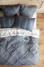 New Anthropologie  Peonia Coverlet  Quilt QUEEN Blue Peach