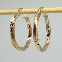 14K solid multi-tone 25mm white/yellow/rose gold hallow Hoop earrings 2.0 gram