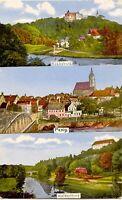 D ROCHSBURG in MULDENTAL (LUNZENAU), 1919, farbige Gruß-Aus-AK mit Ortsansichten