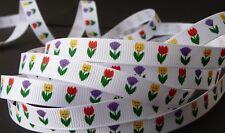 3/8 inch TULIP flower floral print on white perennial grograin RIBBON - 1 yd