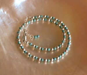 3mm Turquoise and 3mm Sterling Silver Bead Ankle Bracelet 8 to 10 Inches