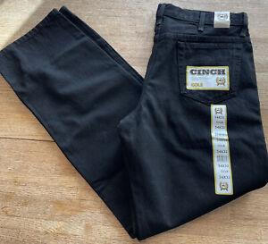 New With Tags CINCH COLE BLACK HEAVY DENIM JEANS SZ 34 x 32 Work Pockets Men's