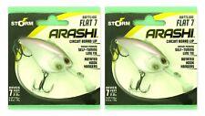 (2) Storm Arashi Rattling Flat 7 Circuit Board Lip Crankbaits Blue Back Herring