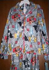 LEGO Star Wars Figures Fleece Pajamas Boy's 6/7 NeW Button Shirt Pants Pjs Set