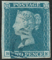 """1841 SG14 2d BLUE PLATE 3 FINE USED 4 MARGINS """"BLUE"""" 1844 TYPE CANCELLATION (BE)"""