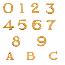 "Polished Brass Numerals Door Numbers 0-9 3"" - 76mm & Letters A-C 2.5/8"" - 65mm"