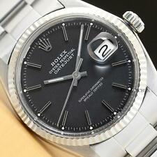 ROLEX MENS DATEJUST BLACK DIAL 18K WHITE GOLD BEZEL AND STAINLESS STEEL WATCH