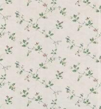 Wallpaper Designer Mini Red Blue Tan Floral Green Leaf Vine on Tan Faux