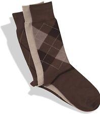 $45 Perry Ellis Men'S 3-Pair Pack Brown Beige Argyle Crew Dress Socks Shoe 7-12
