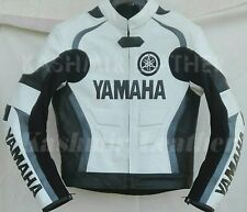 New Mens Black White Motorcycle Racing Cowhide Leather Biker Jacket For Yamaha