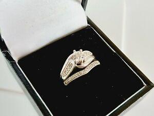 9ct White Gold Real Diamond Bridal Ring Set. Size K/L.  4.8g. Hallmarked.