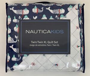 "Nautica Kids Twin/Twin XL Quilt Pillow Sham Set Blue Whales Nautical 68"" x 86"""