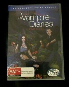 Vampire Diaries : Season 3 (2012 : 5 Disc DVD Set) Very Good Condition Region 4