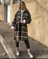 H&M Long Shirt Jacket Shacket Dark Khaki Green Plaid S Isabel Marant NWT