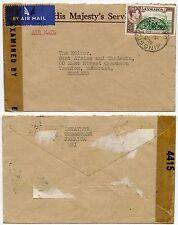 Jamaica Segunda Guerra Mundial censurado Oficial Envolvente ohmios correo aéreo 1/GB-a