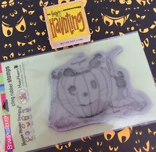 House Mouse Cling Mount Rubber Stamp Halloween Pumpkin Carving + Haunting Phrase