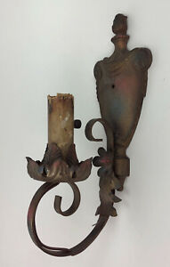 antique POLYCHROME CAST IRON WALL SCONCE