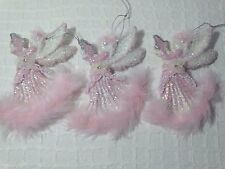 Shabby Christmas Cottage Chic Ornament Decoration Pink White Feathe Angels Lot 3