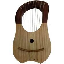 HS Lyre Harp 10 Metal Strings Shesham wood 2 Tone Color Carrying Case/Lyra Harfe