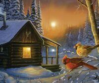 "Winter Cabin Birds  LED Wall Art Print 16"" x 12 ""  REP1787"
