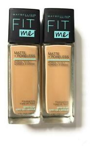 New Maybelline Fit Me Matte + Poreless Foundation, 125 Nude Beige, 1oz, Lot Of 2