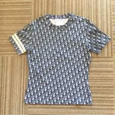 Vintage Christian Dior Blue and Navy Monogram Printed Cotton T-shirt US6