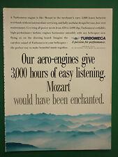 3/1990 PUB TURBOMECA BORDES AERO ENGINES TURBINE HELICOPTER MOZART MUSIC AD