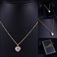 Halskette & Anhänger Herz, Kette Damen, Gelb-Gold, Swarovski® Kristalle, im Etui