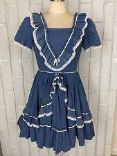 "Vintage Blue White Polka Dot Circle Skirt Swing Dress Ruffles Prairie 28"" Waist"