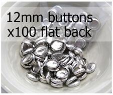 12mm self cover metal BUTTONS FLAT backs (sz 20) 100 QTY + FREE instructions