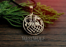 Viking Odin on Sleipnir Pendant -- Norse/Medieval/Gold/Bronze/Jewelry/Skyrim/New