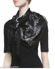 ~$500 Alexander McQueen Botanical Skull Square Scarf in Black/White Chiffon Silk