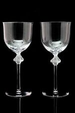 2 Lalique Crystal Glasses Roxane 8.5'' Tall Water Goblets