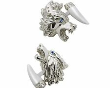 HOWLING & GROWING WOLVES CUFFLINKS, STERLING SILVER, TOPAZ by G.DANILOFF&CO.